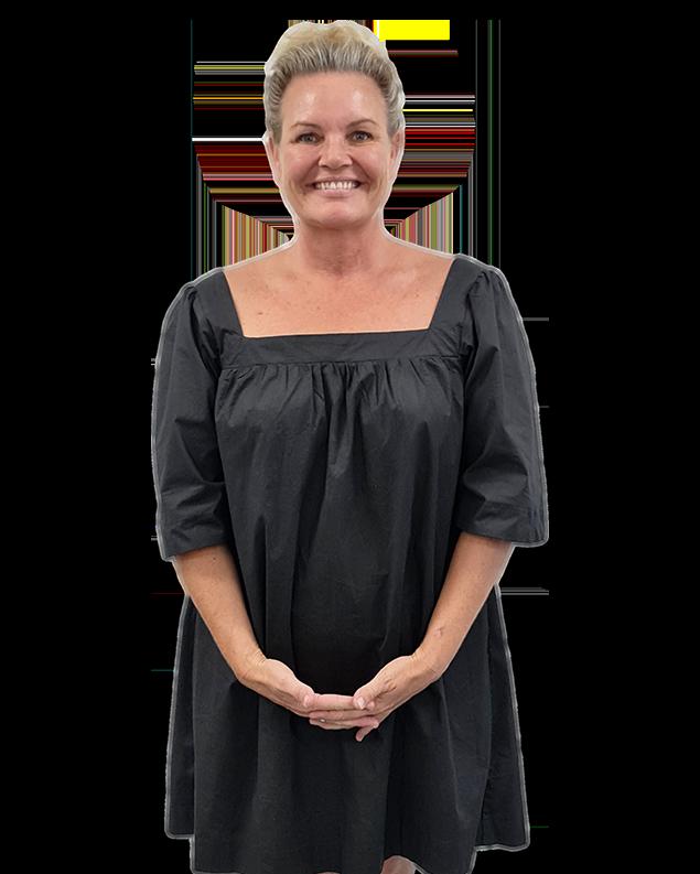 Elise Tiehuis smiling, black dress, head to kneee